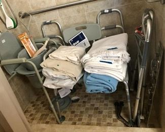 Shower chair, potty, walkers...
