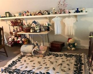 Collection of bird houses, quilts, leaf rug, vintage little girl's dresses plus more!