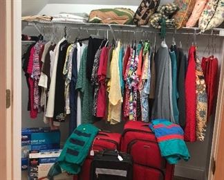 Luggage, linens, great women's clothing, decorative pillows, vintage swimming trunks...