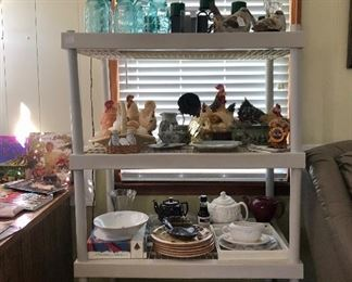 Blue jars, candles, Rooster collection, pottery, tea pots, dishes, cast iron and more!