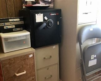 File cabinets, Sentry safe, one of 2 folding chairs