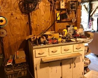 Vintage metal cabinet, lots of tools, nails, wire...