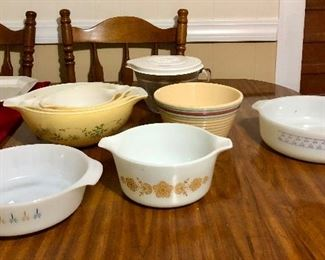 "Fire King ""candle glow"", Pyrex nesting bowls, Watts bowl, Dyna ware casserole"