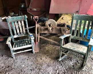 Old rocker and chair, sharpening wheel...