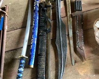 Home made and store brought knifes and swords