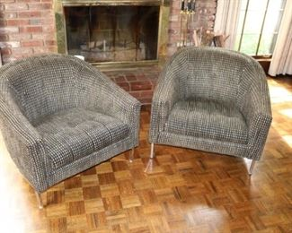 Chrome legs mid century modern barrel chairs in excellent condition