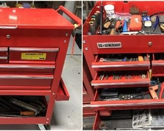 5 drawer US General rolling toolbox with tools