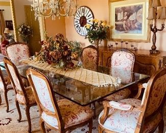 Glass Top Dining Room Table, Acrylic Base, 10 Chairs