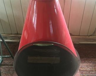 1960's Indoor Red Enamel, Wood-burning, Fireplace--Beautiful Condition for its age.