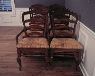 set of 8 Country French Dining Room Chairs - 6 regular and 2 captain chairs