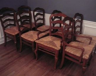 Country French Dining Room Chairs with cane seats 2 arm chairs and 6 regular chair