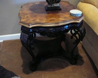 parquet topped end table with ornate base