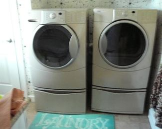 Kenmore Elite Front Load Washer and Dryer on Pedestals