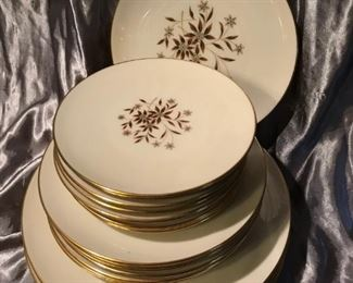 STARLIGHT BY LENOX GOLD TRIM CHINA- BROWN FLORAL-24 PC $40