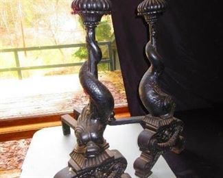 Antique Dolphin Cast Iron Andirons, $850