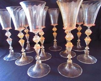 Group of 10 Vintage Venetian Blown Murano Seguso Toasting Goblets, $3,600