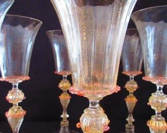 Detail to Group of 10 Vintage Venetian Blown Murano Seguso Toasting Goblets