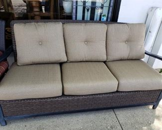 """Outdoor sofa with cushions. 76""""W x 30""""D x 35""""H, 20""""  seat height, 26"""" arm height. $250.00"""
