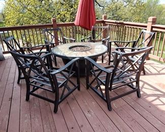 Patio set fire pit with 6 chairs and cushions, umbrella sold seperately