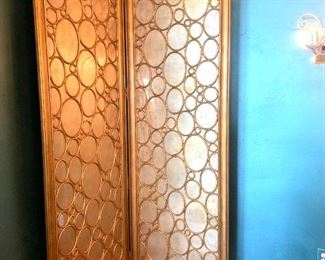 """Mirrored room divider screen. 87"""" tall x 57"""" wide"""