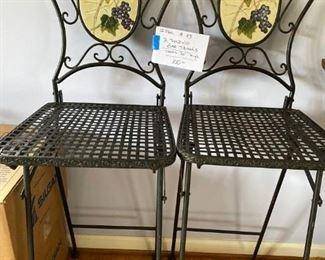 "#432 Folding Bar StoolsFolding - Grape Design - 30"" Seat                                                                     $100"