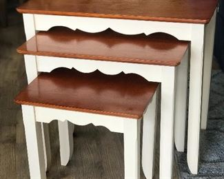 """Set of 3 Nesting tables, 22D x 25W x 15""""H of tallest table,  $45"""