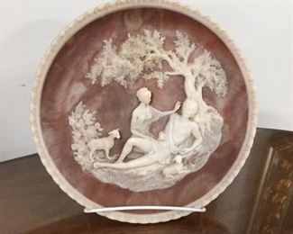 """Signed by Gayle Bright Appleby, Inolay stone sculpture, 10"""" Diameter,  $16"""