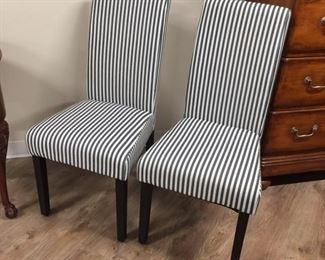 2 denim blue striped chairs,  $40 each