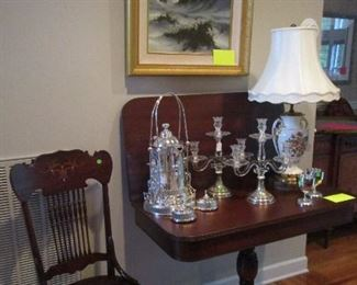 Antique Mahogany Table,  Pair of Vintage /Sterling Candelabra's w/Prisms, HUGE Assortment of Lamps,Silver & Silver-plated accessories.  Antique Chair with mother-of pearl inlay...