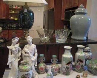 Oriental vases, figurines, Ginger/Jar's, etc. Cut Glassware, Pressed Glass, etc.