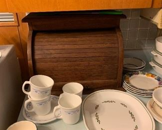 nice wooden breadbox and Corelle dishes