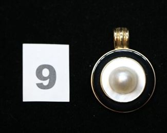 "#W9  Gorgeous 14kt yellow gold pendant measuring        1 3/4"" with blister pearl center.  $165.00"