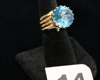 "#W14  Ladies 14k yellow gold blue topaz ring in size 5 1/2""   $595.00"