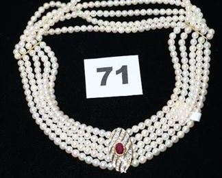 "#P71    An exquisite 5 strand of pearl choker with a ruby and diamond clasp in 18k yellow gold. 14 1/2""  $2,200.00"
