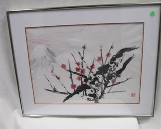 "9a. Original Sumi Ink on rice paper, Artist, Catherine Tyrrell, 25"" x 20"" inc frame, $50"