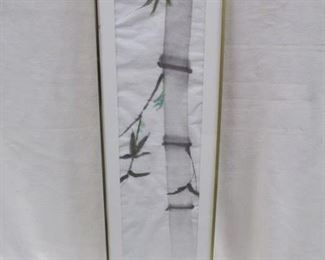 "16a. Original Sumi Ink ""Bamboo"", stamped not signed, 10.5"" x 35.5"" inc frame, $50."