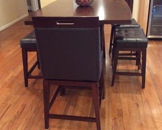 HIGH TOP TABLE WITH 2 STOOLS, ONE BENCH AND 2 SWIVEL CHAIRS!!! EXCELLENT CONDITION!