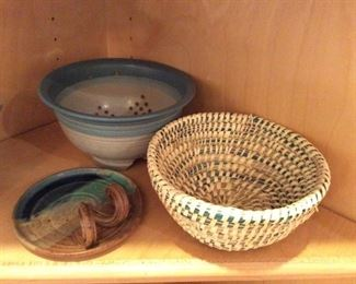 POTTERY AND WOVEN BASKET
