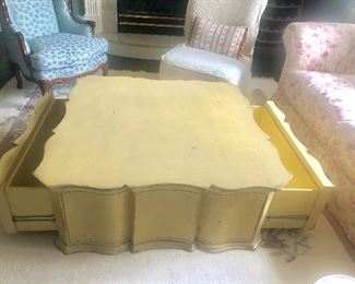 "Coffee Table showing Storage Drawers, 42"" square, $400"