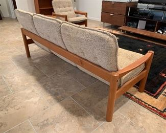 "Domino Mobler sofa with teak arms (70""W x 26""D x 31""H) - $1,800 or best offer"