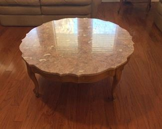 Hammary Furniture Company, French Provincial Marble Top Coffee Table.