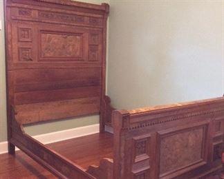 Antique Victorian Eastlake Full Size Bed.