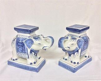 "Porcelain Elephants, 8 1/2"" H."
