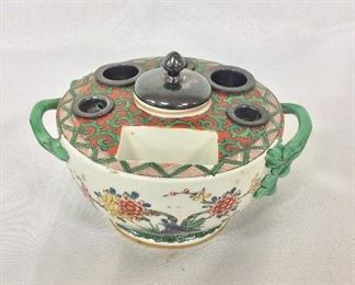 Antique Chantilly French Porcelain Ink Well.