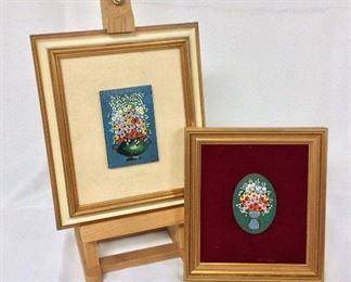 """Two Framed Art, easel 18"""" H."""