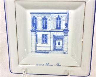 """Decorative Porcelain Tray, 7"""" x 7"""". 38 Rue de Provence  Paris, Limoges, Credit Suisse Hottinguer."""