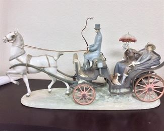 """Lladro Horse and Carriage """"For A Ride""""."""