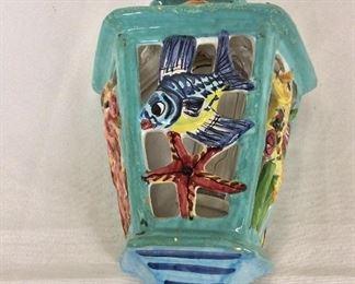 """Painted Ceramic Tropical Fish Globe, 15"""" H."""