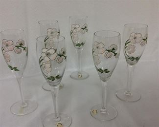 Six Painted Champagne Flutes.