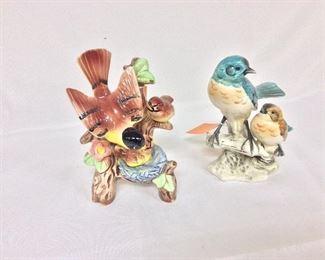 "Porcelain Birds, 7"" H."